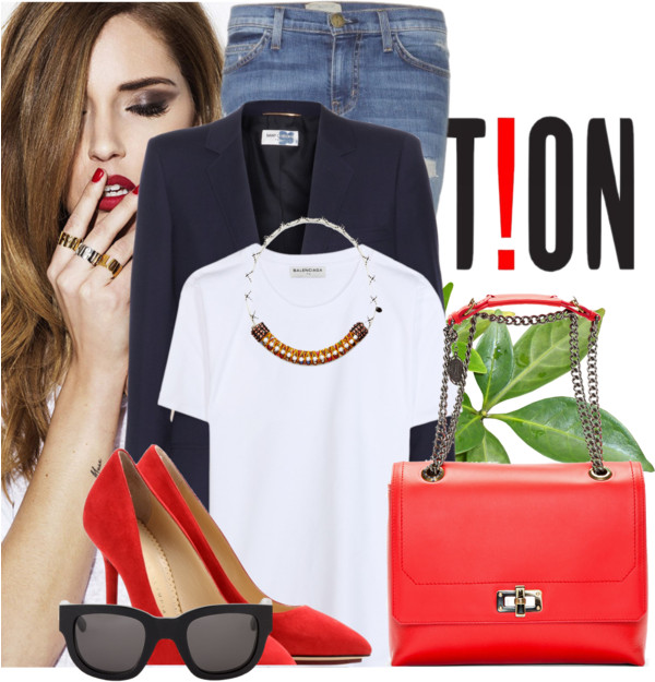 Lanvin red leather bag Charlotte Olympia red pumps Saint Laurent navy blazer Balenciaga white t-shirt Current Elliot skinny jeans Acne Studios sunglasses