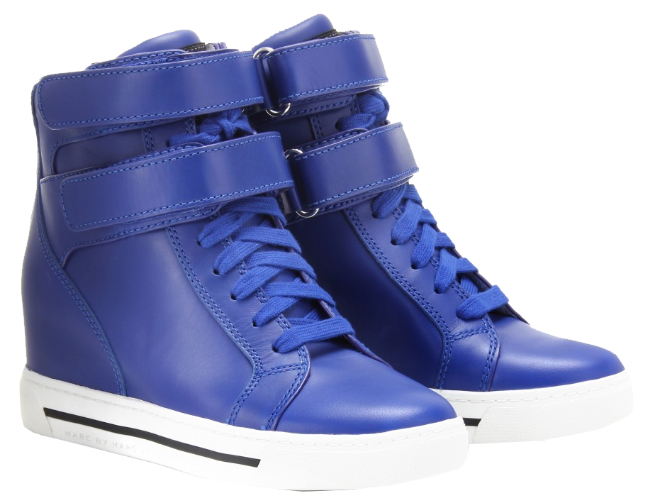 Marc Jacobs electric blue Concealed wedge leather high-top sneakers