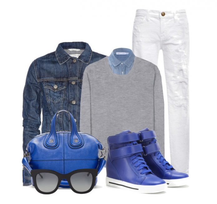 Marc Jacobs electric blue wedge leather sneakers GIVENCHY Blue Leather bag denim jacket gray sweater denim shirt black sunglasses