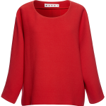 Marni Double Face Crepe Cropped Sleeve Crew Neck Blouse