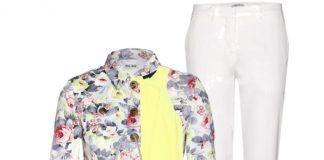 Miu Miu Floral-print cropped denim jacket white pants chloe sandals linda farrow bag roberto cavalli sunglasses reed krakoff bracelet