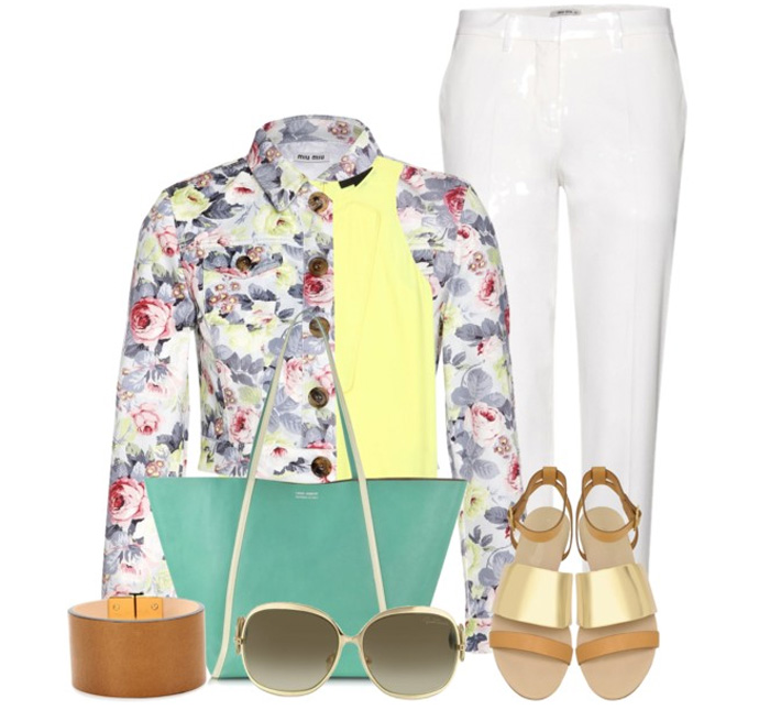 Miu Miu Floral-print cropped denim jacket white pants chloe sandals linda farrow bag roberto cavalli sunglasses reed krakoff bracelet