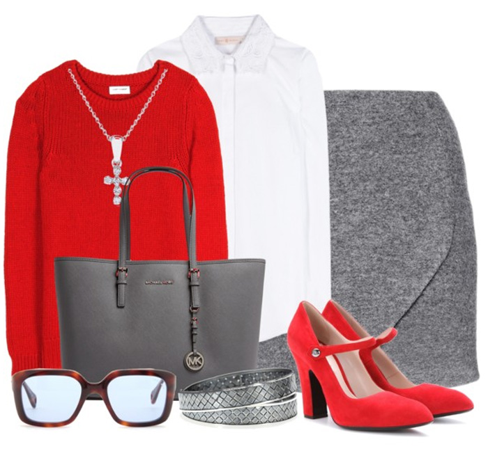 Miu Miu chunky heel red suede Mary Jane style pumps gray skirt white blouse red sweater gray leather bag