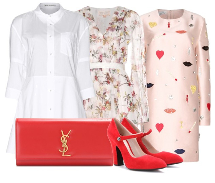 Miu Miu red suede chunky heel mary jane style pumps Stella McCartney Aubin embellished sateen-twill dress  Giambattista Valli Silk-chiffon print dress  Acne Studios Dee cotton shirt dress
