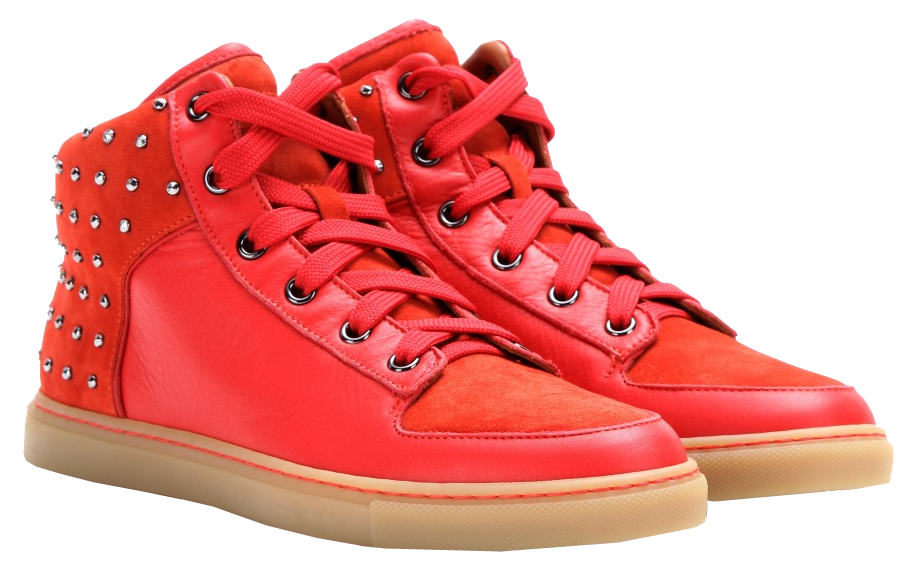 Mulberry bright red Studded leather high-top sneakers
