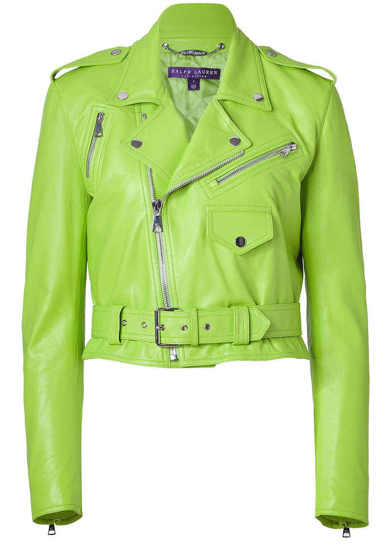 Ralph Lauren Collection Lime Green Glove Leather Davidson Jacket