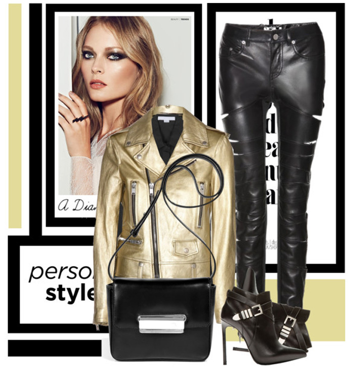 Saint Laurent gold metallic leather biker jacket black Slit Leather Trousers black leather ankle boots Alexander Wang black sheer silk blouse Jill Sander black leather shoulder bag
