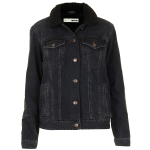Topshop black Moto Fleece Collar Denim Jacket