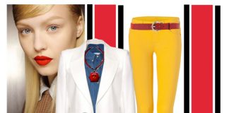 Yellow skinny jeans dark blue denim button down shirt white fitted blazer red necklace dark sunglasses white bag