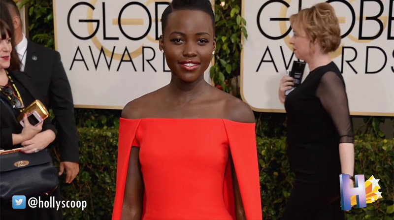 lupita nyong'o Ralph Lauren Collection red Audrey Cape Gown golden Globes