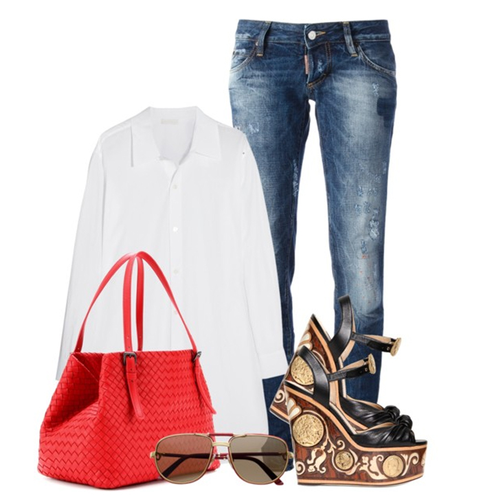 BOTTEGA VENETA RED INTRECCIATO LEATHER TOTE blue jeans white shirt cartier sunlgasses dolce gabbana wedge sandals