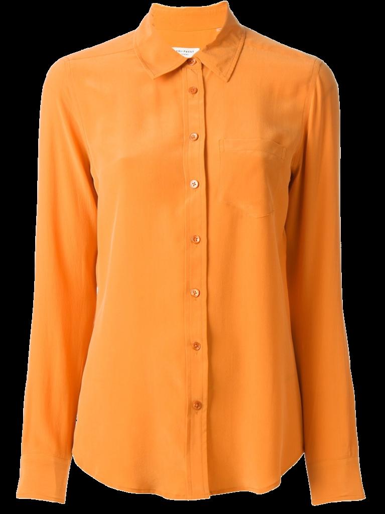 Burnt orange silk shirt from Equipment
