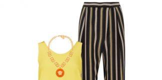 Chloe silk stripe trousers yellow silk tank top sandals brown Marcie bag
