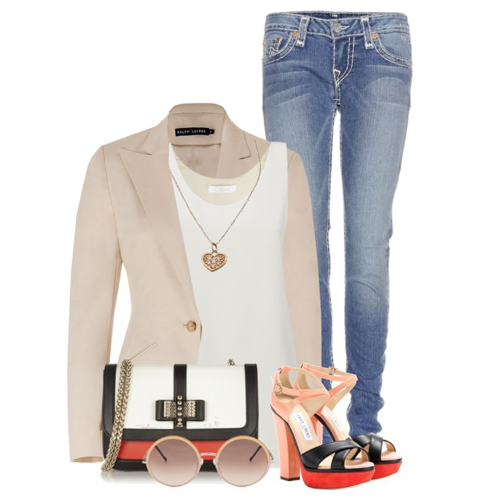 Jimmy Choo Tiber sandals True Religion Jeans RALPH LAUREN Blazer Chloe tank top Christian Louboutin bag CUTLER AND GROSS Sunglasses Max Chloe Necklace