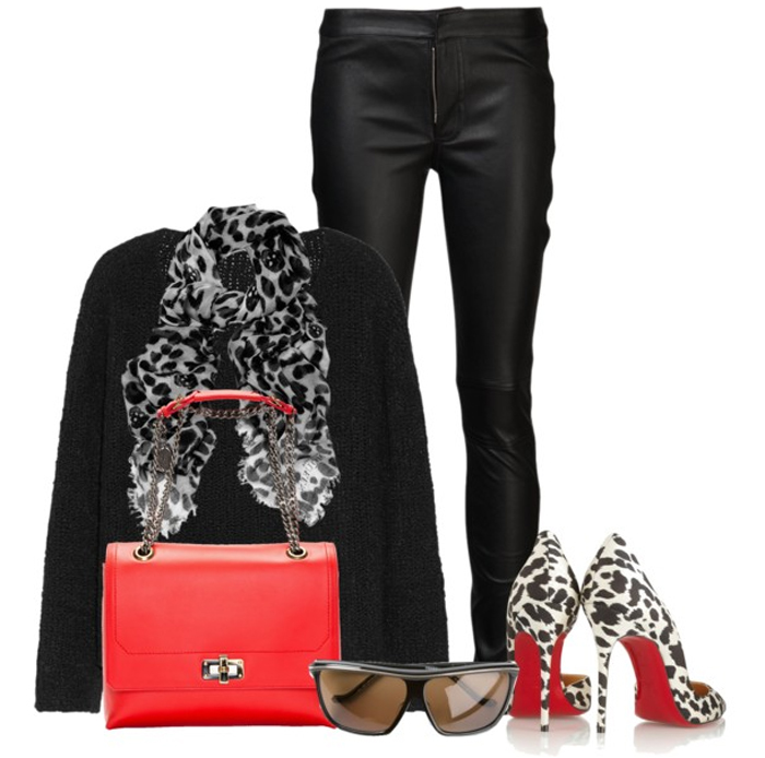 LANVIN POPPY RED LEATHER HAPPY EDGY MEDIUM SHOULDER BAG with black leather pants black sweater Christian Louboutin leopard print pumps leopard print scarf