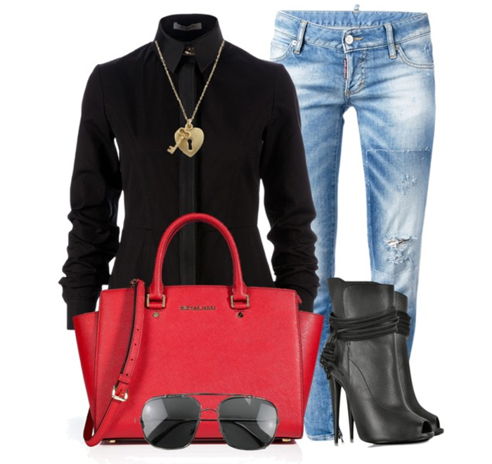 Michael Michael Kors red leather medium selma tote Givenchy black shirt DSQUARED2 faded skinny jean Giuseppe Zanotti Open-Toe Boots black sunglasses