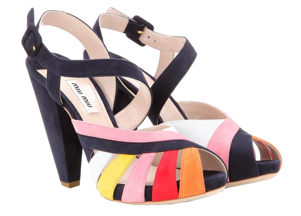 Miu Miu orange red pink white yellow navy blue suede sandals 2