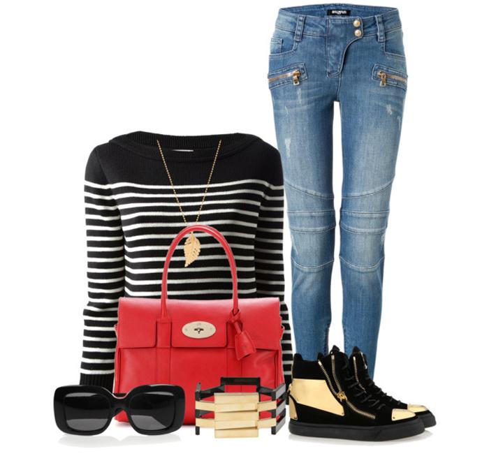 Mulberry red bayswater leather tote black white stripe sweater Saint Laurent Balmain jeans Giuseppe Zanotti black gold sneakers Bottega Veneta sunglasses