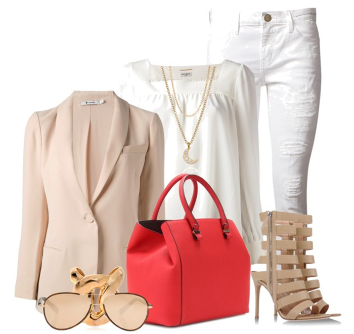 VICTORIA BECKHAM RED LIBERTY LEATHER SHOPPER white CURRENT ELLIOTT jeans white SAINT LAURENT top beige blazer nude ankle boots LINDA FARROW Sunglasses