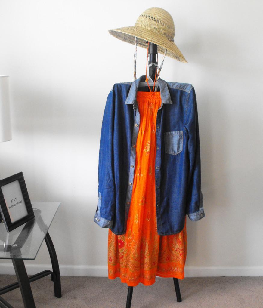 orange bohemian skirt with denim overshirt