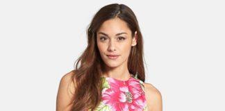 Eliza J Floral Print Cotton Sateen Fit Flare Dress