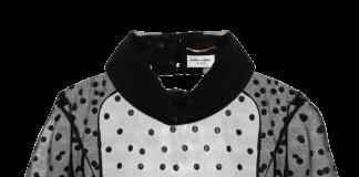 Saint Laurent open back black sheer polka dot mesh top
