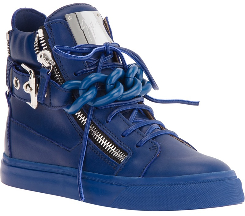 Giuseppe Zanotti Blue Chain Detail High-Top Sneakers