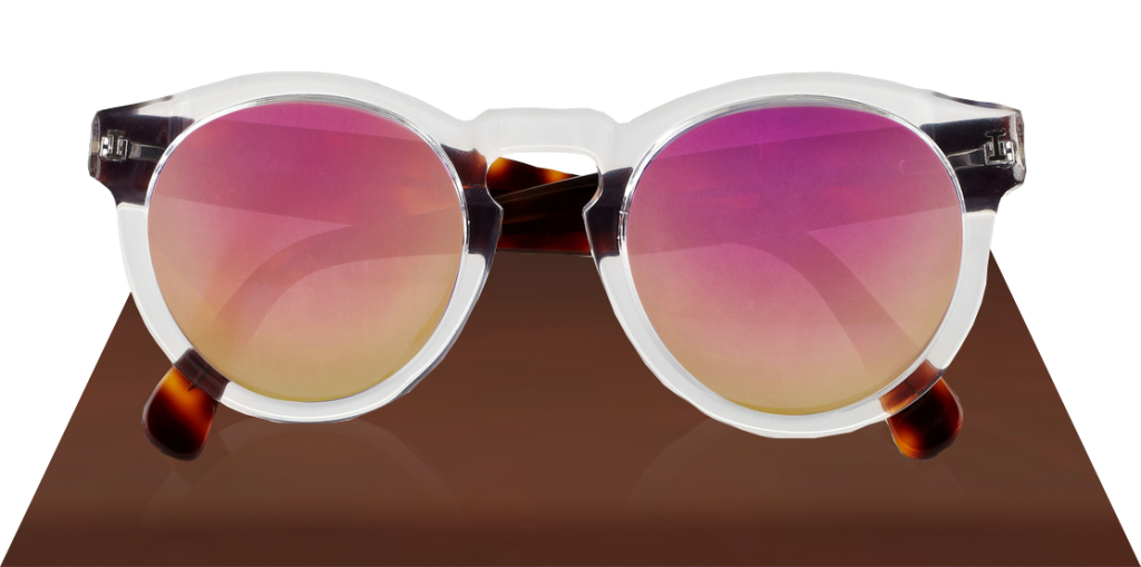 ILLESTEVA leonard pink lenses Two-Tone Mirrored Sunglasses Clear Havana