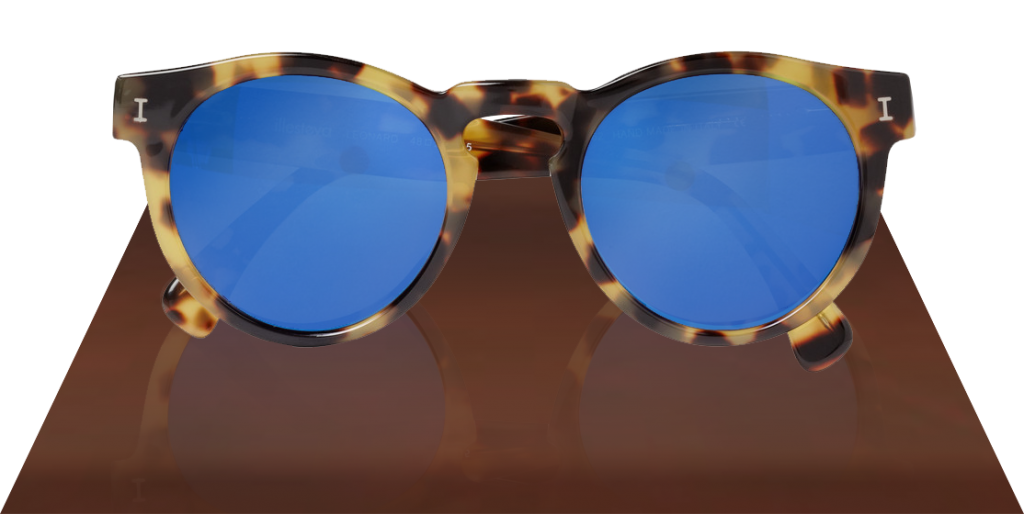 Illesteva Leonard Mirrored blue lenses Sunglasses in Matte Tortoise