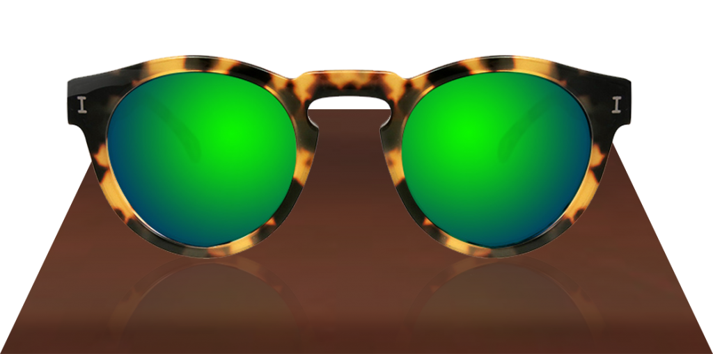 Illesteva Leonard Tortoise with Green Mirrored Lenses sunglasses