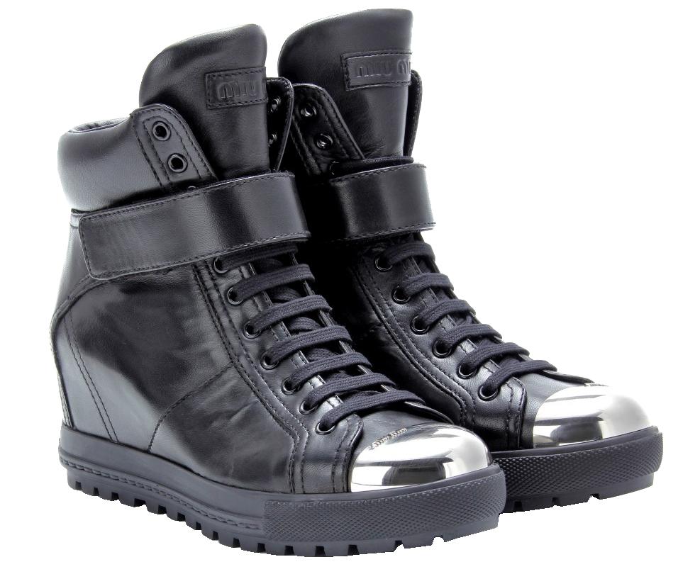 Miu Miu black Leather concealed wedge sneakers