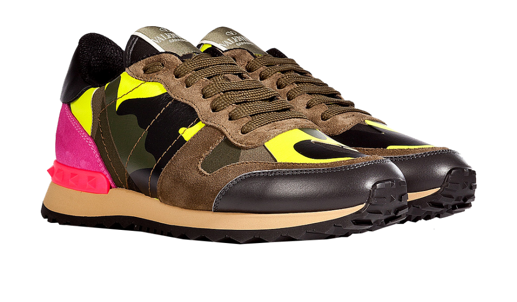 Valentino camouflage print colorblock sneakers