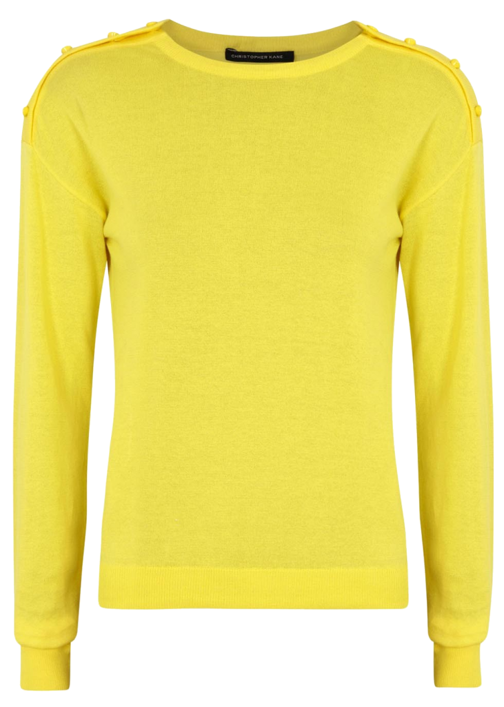 Christopher Kane Yellow Swarovski crystal embellished cotton sweater