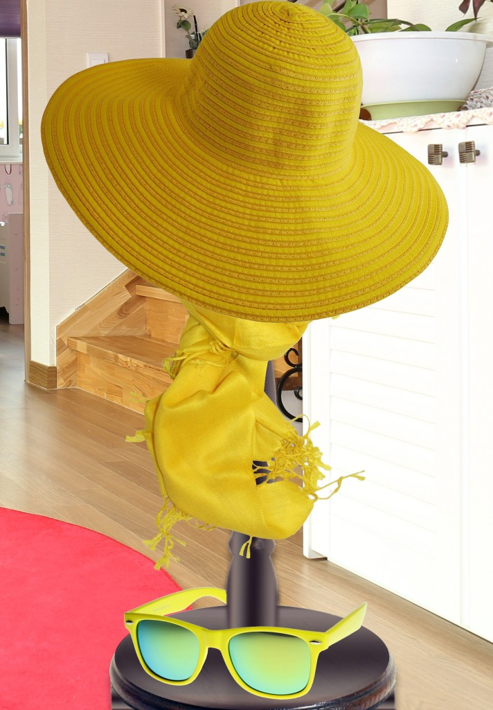 Yellow sun hat yellow scarf yellow rimmed sunglasses