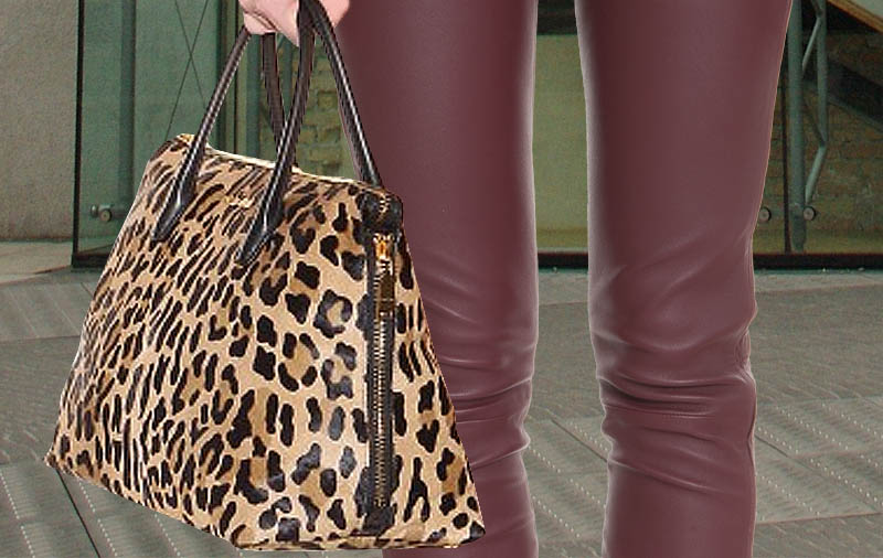 Miu Miu Leopard-printed pony hair tote bag