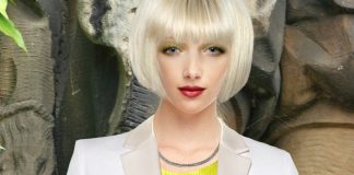 clothing model wearing yellow green shift dress white blazer