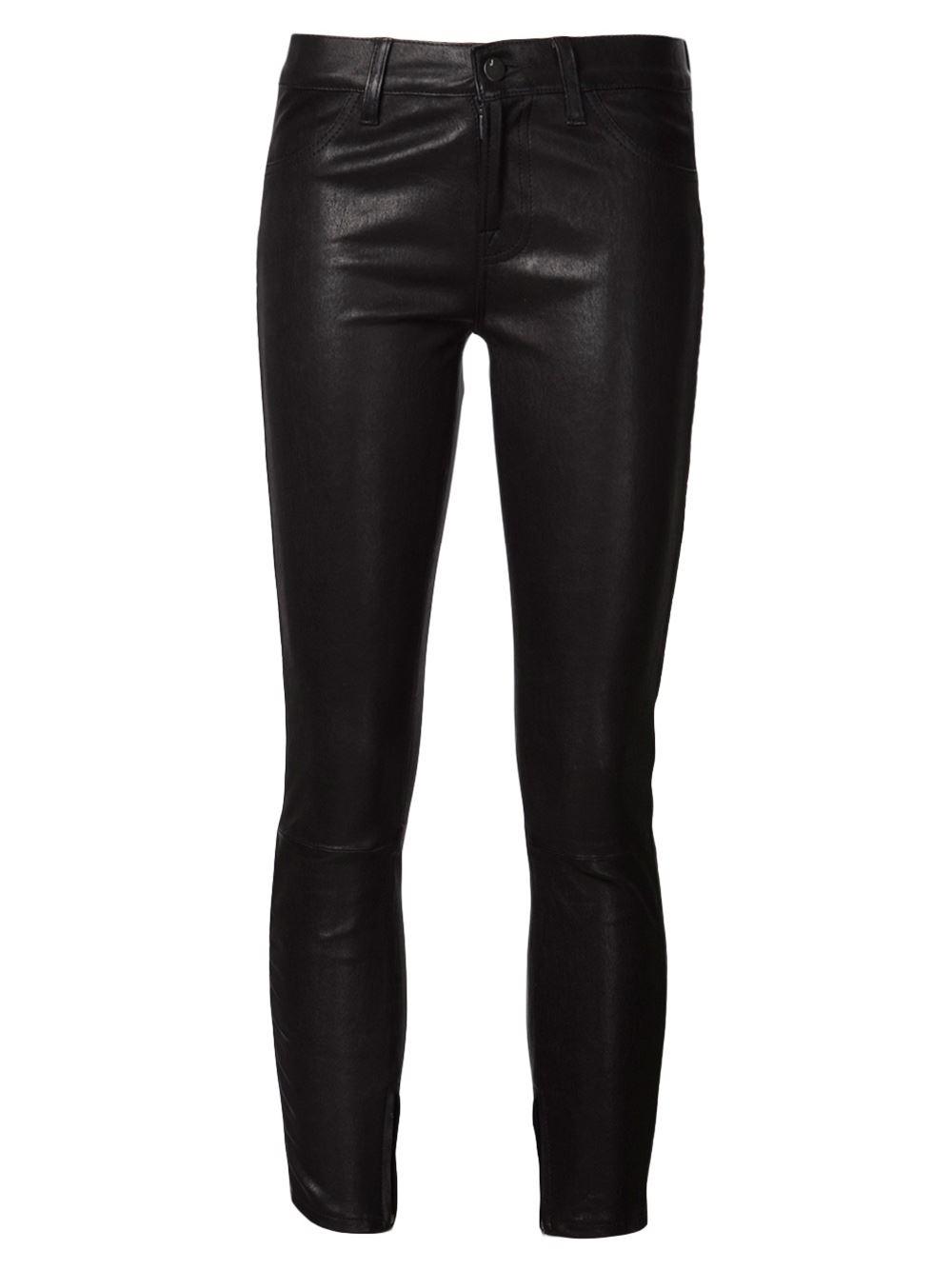 Black leather cropped trousers from J Brand