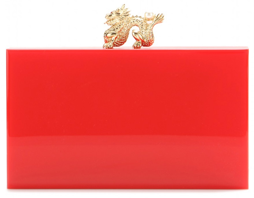 Charlotte Olympia red Dragon Pandora box clutch