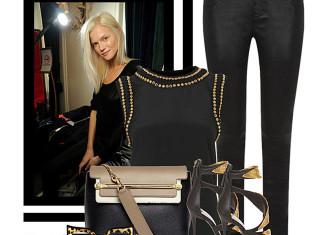 Chloe Clare Tricolor Leather Shoulder Bag black