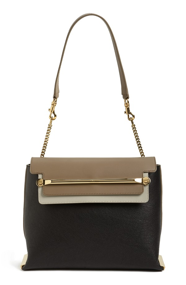 Chloe Clare Tricolor Leather Shoulder Bag black beige brown