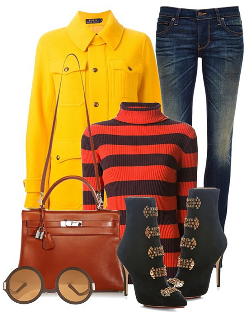 Juan Vidal orange burgundy ribbed striped sweater yellow coat black ankle boots