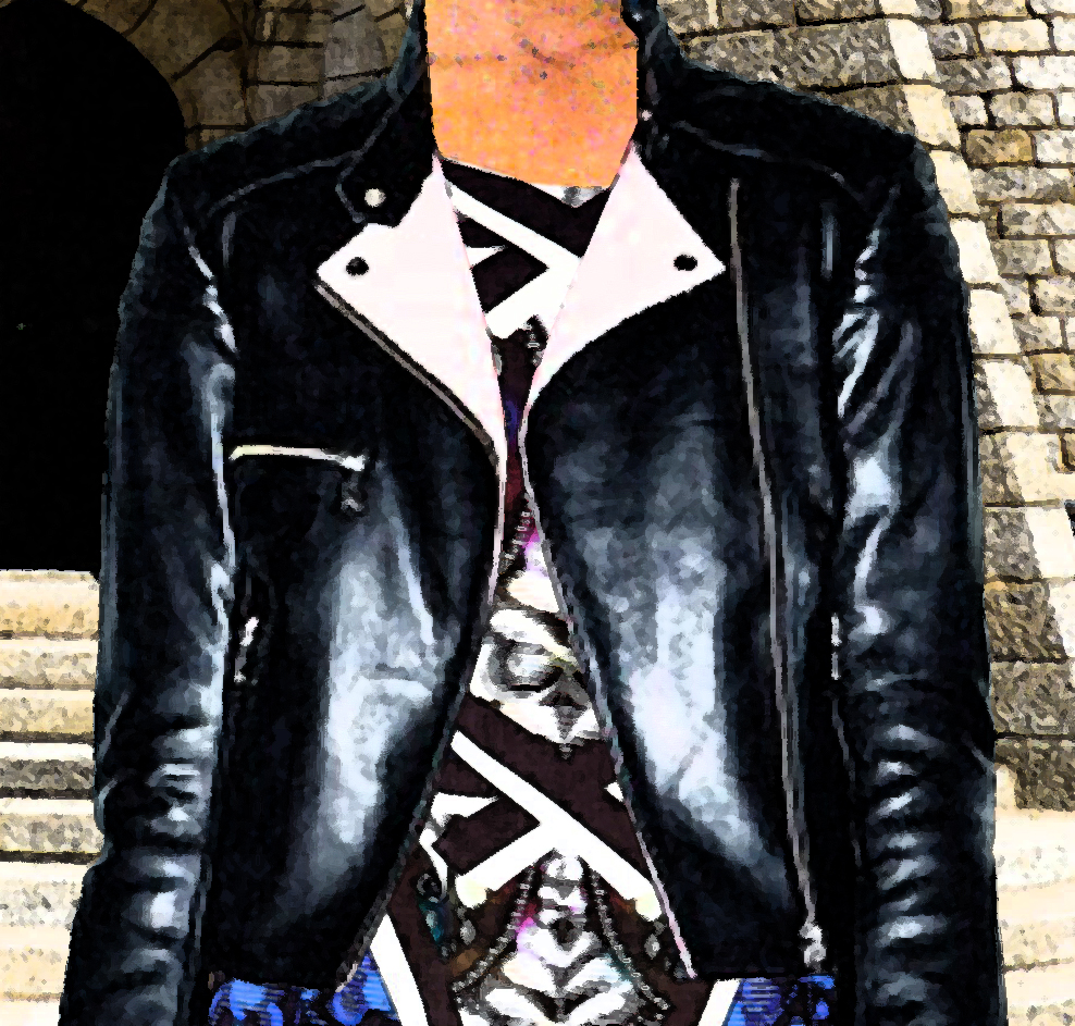 McQ Alexander McQueen black leather jacket fresco
