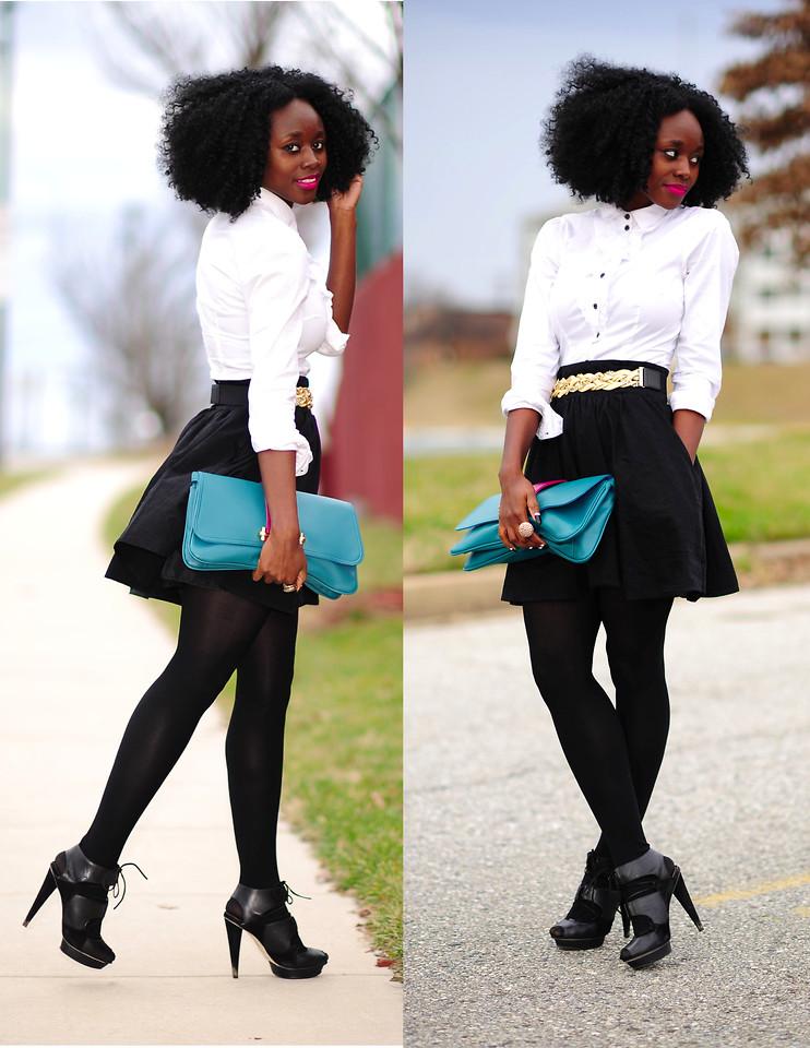 Nifesimi Skinny Hipster Blog White Top Flared Black Skirt Black