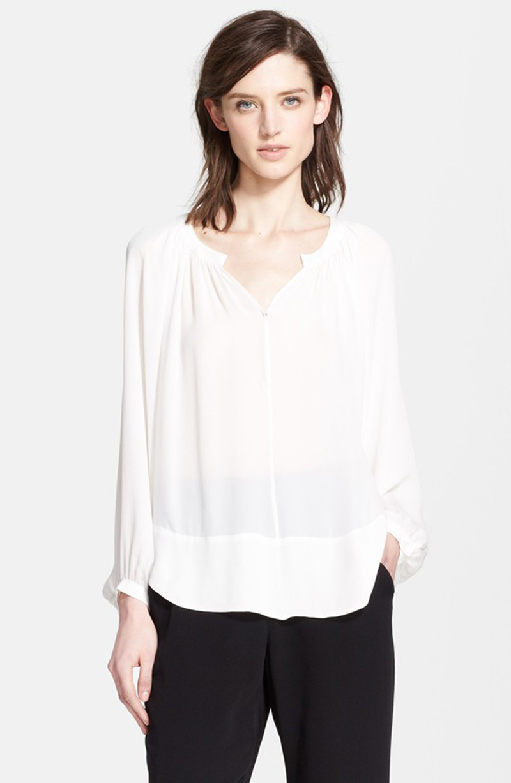 Tamara Mellon Print Silk Peasant Blouse