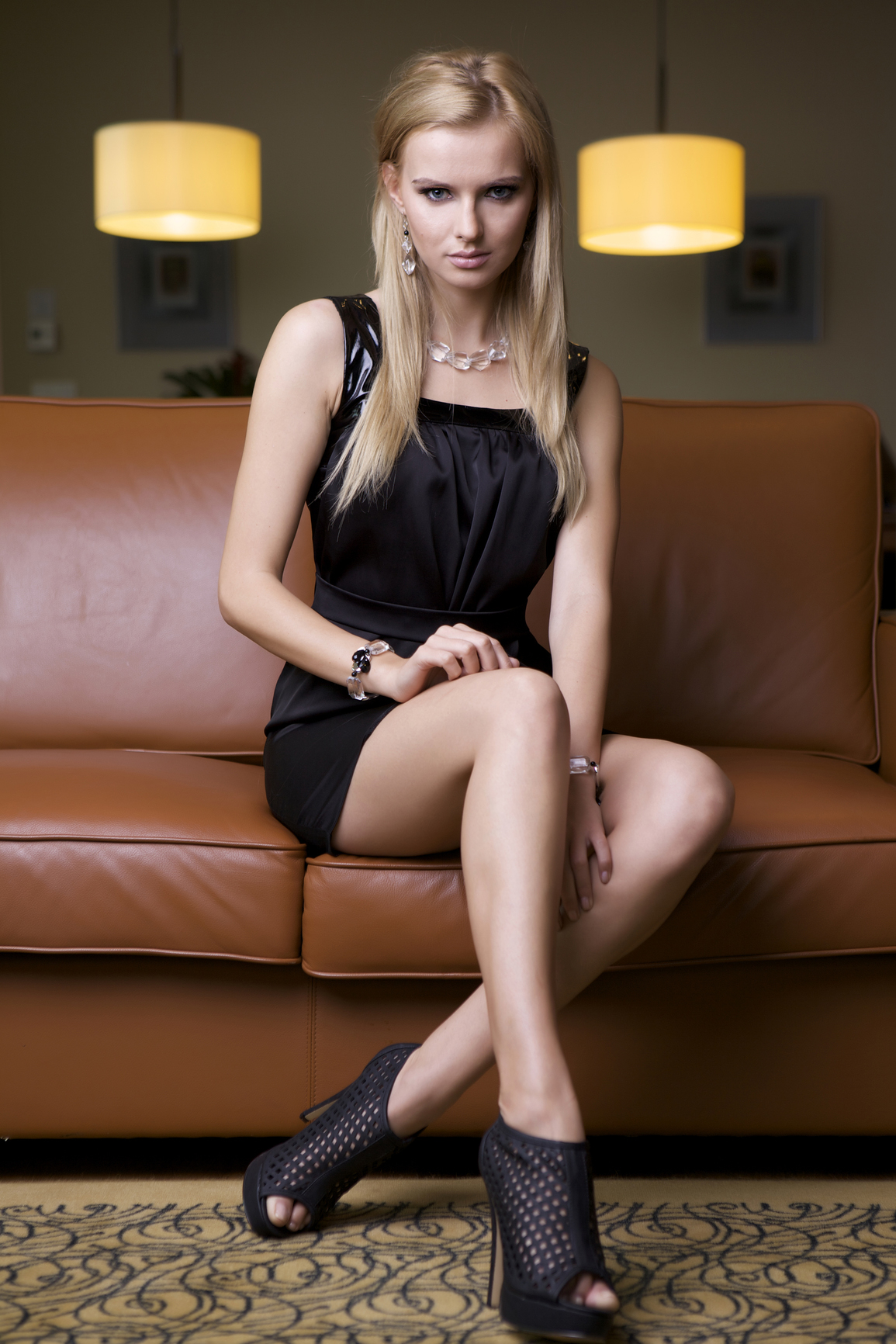 Brilliant Attractive Woman Wearing Little Black Dress Royalty Free Stock Photo