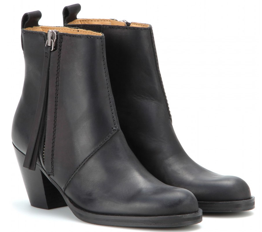 Acne Studios black Pistol Short leather ankle boots