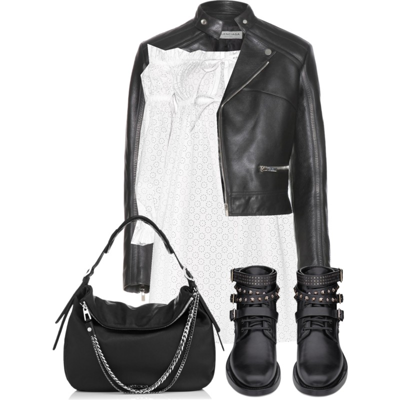 Balenciaga Leather Jacket over a white Alexander McQueen Cotton Broderie Anglaise Dress with Saint Laurent Signature Rangers Studded Boots In Black