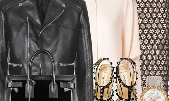 Balenciaga Leather Jacket with Alexander McQueen Lace Pencil Skirt and a Chloe Dolman Sleeved Shirt Valentino All-Black Patent Rockstud Slingback Heels ftimg
