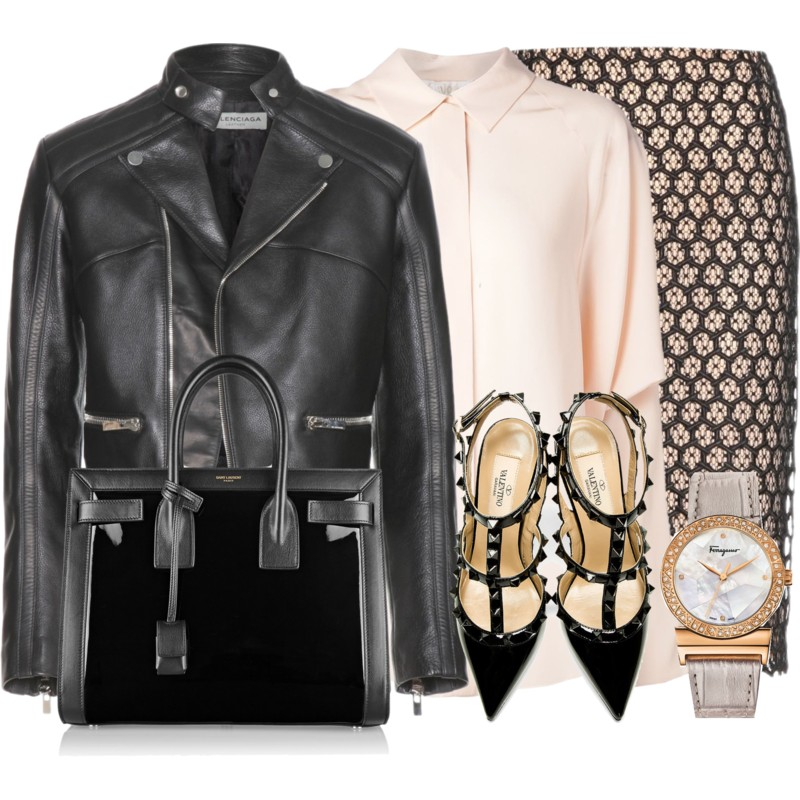 Balenciaga Leather Jacket with Alexander McQueen Lace Pencil Skirt and a Chloe Dolman Sleeved Shirt Valentino All-Black Patent Rockstud Slingback Heels