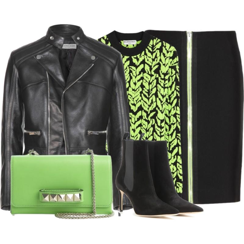 Balenciaga Leather Jacket with Alexander Wang Cotton Pencil Skirt and a Balenciaga Jacquard Stretch Sweater black Balenciaga Suede Ankle Boots